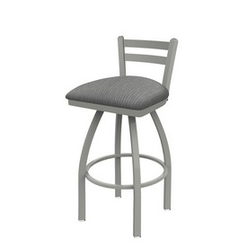 411 Jackie Low Back Swivel Stool with Anodized Nickel Finish and Graph Alpine Seat