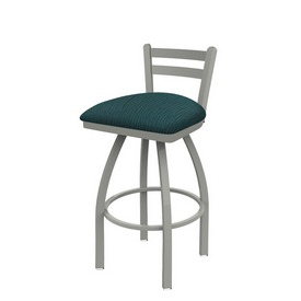 411 Jackie Low Back Swivel Stool with Anodized Nickel Finish and Graph Tidal Seat