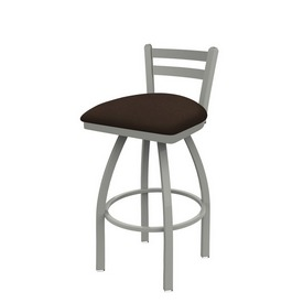 411 Jackie Low Back Swivel Stool with Anodized Nickel Finish and Rein Coffee Seat