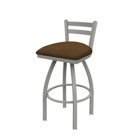 411 Jackie Low Back Swivel Stool with Anodized Nickel Finish and Rein Thatch Seat