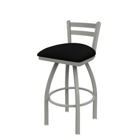 411 Jackie Low Back Swivel Stool with Anodized Nickel Finish and Black Vinyl Seat