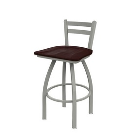 411 Jackie Low Back Swivel Stool with Anodized Nickel Finish and Dark Cherry Maple Seat