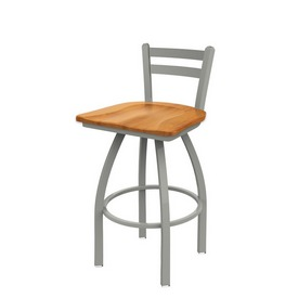 411 Jackie Low Back Swivel Stool with Anodized Nickel Finish and Medium Maple Seat