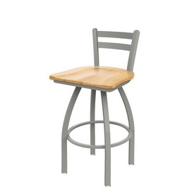 411 Jackie Low Back Swivel Stool with Anodized Nickel Finish and Natural Maple Seat