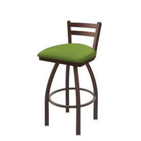 411 Jackie Low Back Swivel Stool with Bronze Finish and Canter Kiwi Green Seat