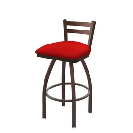411 Jackie Low Back Swivel Stool with Bronze Finish and Canter Red Seat