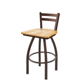 411 Jackie Low Back Swivel Stool with Bronze Finish and Natural Oak Seat