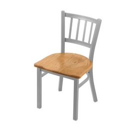 "610 Contessa 18"" Chair with Anodized Nickel Finish and Medium Oak Seat"