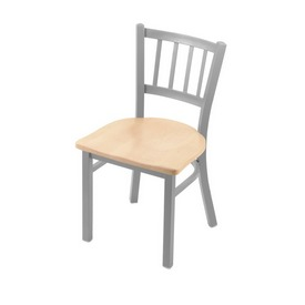 """610 Contessa 18"""" Chair with Anodized Nickel Finish and Natural Maple Seat"""