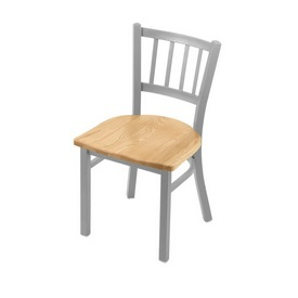 "610 Contessa 18"" Chair with Anodized Nickel Finish and Natural Oak Seat"