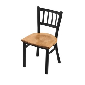 """610 Contessa 18"""" Chair with Black Wrinkle Finish and Medium Maple Seat"""