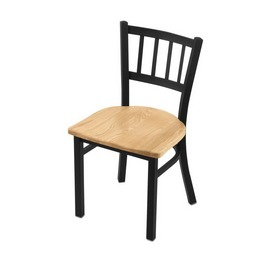 "610 Contessa 18"" Chair with Black Wrinkle Finish and Natural Oak Seat"