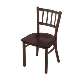 "610 Contessa 18"" Chair with Bronze Finish and Dark Cherry Oak Seat"