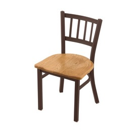 "610 Contessa 18"" Chair with Bronze Finish and Medium Oak Seat"