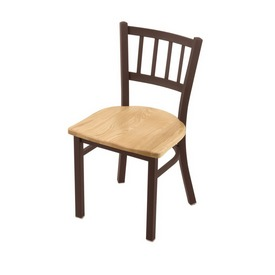 """610 Contessa 18"""" Chair with Bronze Finish and Natural Oak Seat"""