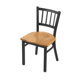 """610 Contessa 18"""" Chair with Pewter Finish and Medium Oak Seat"""