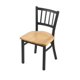 """610 Contessa 18"""" Chair with Pewter Finish and Natural Oak Seat"""