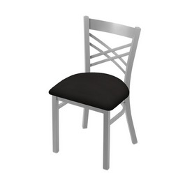 """620 Catalina 18"""" Chair with Anodized Nickel Finish and Canter Espresso Seat"""