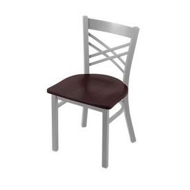 """620 Catalina 18"""" Chair with Anodized Nickel Finish and Dark Cherry Oak Seat"""