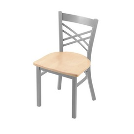 """620 Catalina 18"""" Chair with Anodized Nickel Finish and Natural Maple Seat"""