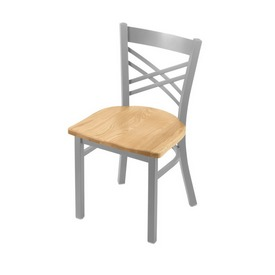 """620 Catalina 18"""" Chair with Anodized Nickel Finish and Natural Oak Seat"""
