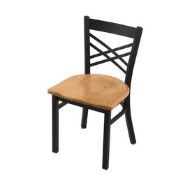 "620 Catalina 18"" Chair with Black Wrinkle Finish and Medium Oak Seat"