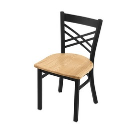 """620 Catalina 18"""" Chair with Black Wrinkle Finish and Natural Oak Seat"""
