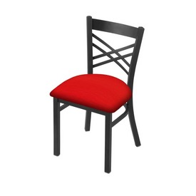 """620 Catalina 18"""" Chair with Pewter Finish and Canter Red Seat"""