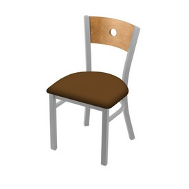 """630 Voltaire 18"""" Chair with Anodized Nickel Finish, Medium Back, and Canter Thatch Seat"""