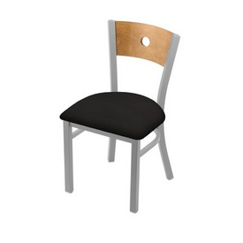 "630 Voltaire 18"" Chair with Anodized Nickel Finish, Medium Back, and Canter Espresso Seat"