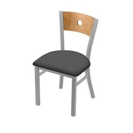 """630 Voltaire 18"""" Chair with Anodized Nickel Finish, Medium Back, and Canter Storm Seat"""