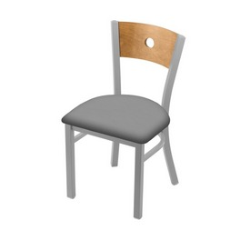"630 Voltaire 18"" Chair with Anodized Nickel Finish, Medium Back, and Canter Folkstone Grey Seat"