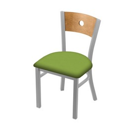 "630 Voltaire 18"" Chair with Anodized Nickel Finish, Medium Back, and Canter Kiwi Green Seat"