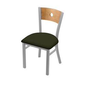 """630 Voltaire 18"""" Chair with Anodized Nickel Finish, Medium Back, and Canter Pine Seat"""