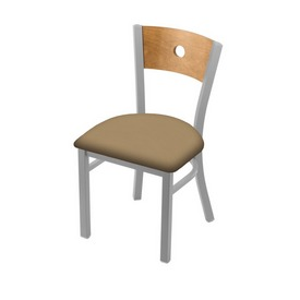 """630 Voltaire 18"""" Chair with Anodized Nickel Finish, Medium Back, and Canter Sand Seat"""