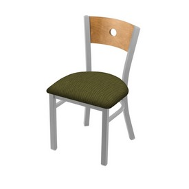 """630 Voltaire 18"""" Chair with Anodized Nickel Finish, Medium Back, and Graph Parrot Seat"""