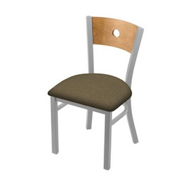 """630 Voltaire 18"""" Chair with Anodized Nickel Finish, Medium Back, and Graph Cork Seat"""