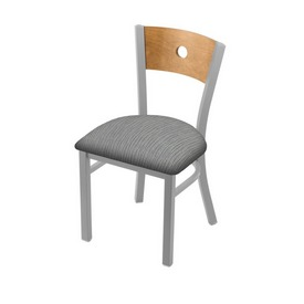 """630 Voltaire 18"""" Chair with Anodized Nickel Finish, Medium Back, and Graph Alpine Seat"""