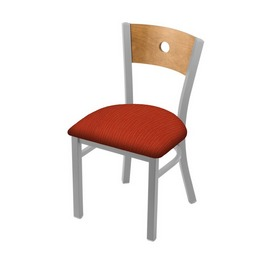 """630 Voltaire 18"""" Chair with Anodized Nickel Finish, Medium Back, and Graph Poppy Seat"""