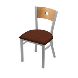 """630 Voltaire 18"""" Chair with Anodized Nickel Finish, Medium Back, and Rein Adobe Seat"""