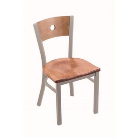 "630 Voltaire 18"" Chair with Anodized Nickel Finish, Medium Back, and Medium Maple Seat"