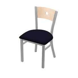 """630 Voltaire 18"""" Chair with Anodized Nickel Finish, Natural Back, and Canter Twilight Seat"""