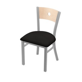 """630 Voltaire 18"""" Chair with Anodized Nickel Finish, Natural Back, and Canter Espresso Seat"""