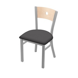 """630 Voltaire 18"""" Chair with Anodized Nickel Finish, Natural Back, and Canter Storm Seat"""
