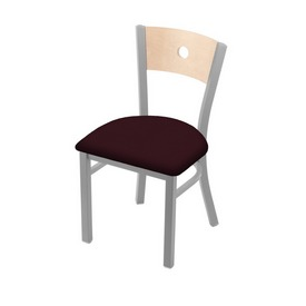 "630 Voltaire 18"" Chair with Anodized Nickel Finish, Natural Back, and Canter Bordeaux Seat"