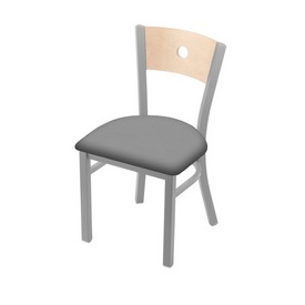 """630 Voltaire 18"""" Chair with Anodized Nickel Finish, Natural Back, and Canter Folkstone Grey Seat"""