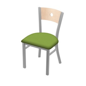 """630 Voltaire 18"""" Chair with Anodized Nickel Finish, Natural Back, and Canter Kiwi Green Seat"""