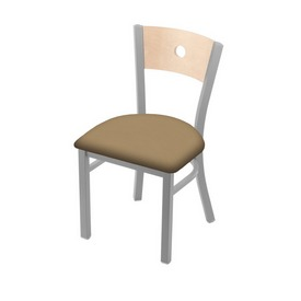 """630 Voltaire 18"""" Chair with Anodized Nickel Finish, Natural Back, and Canter Sand Seat"""