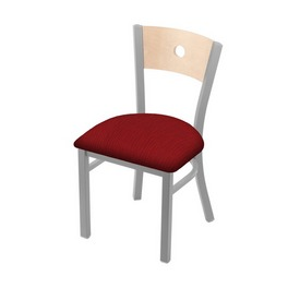 """630 Voltaire 18"""" Chair with Anodized Nickel Finish, Natural Back, and Graph Ruby Seat"""