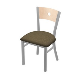 """630 Voltaire 18"""" Chair with Anodized Nickel Finish, Natural Back, and Graph Cork Seat"""